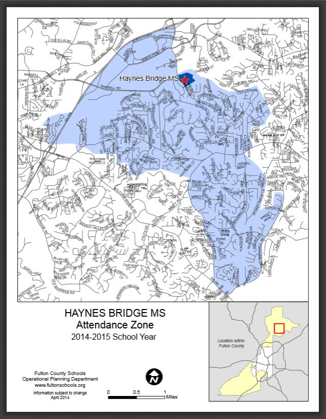 Zone Map For Haynes Bridge Middle School